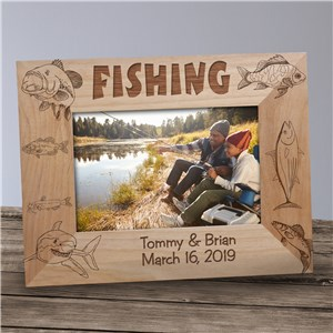 Engraved Fishing Wood Picture Frame | Personalized Wood Picture Frames