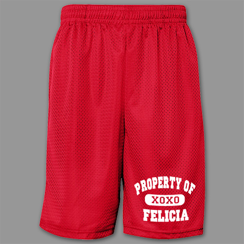 Property of My Valentine Men's Personalized Mesh Shorts | Personalized Valentine's Gifts For Him