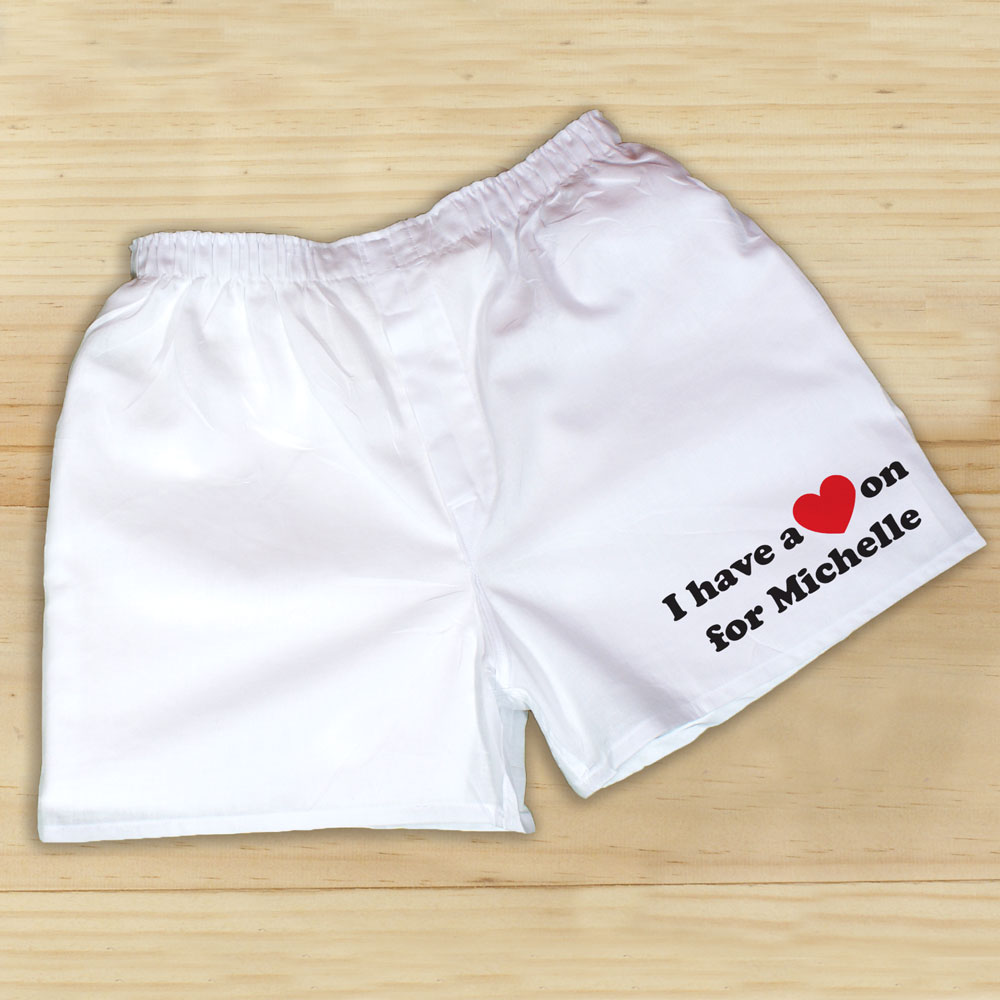 I Have A Heart On Men's White Personalized Boxer Shorts | Romantic Gifts For Him