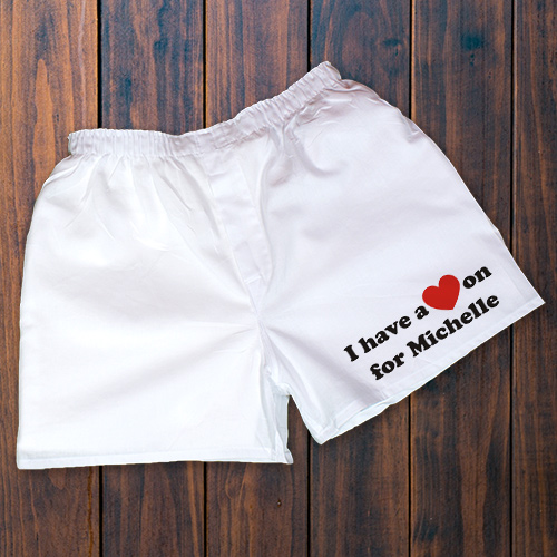 I Have A Heart On Men's White Personalized Boxer Shorts | Personalized Valentine Gifts For Him