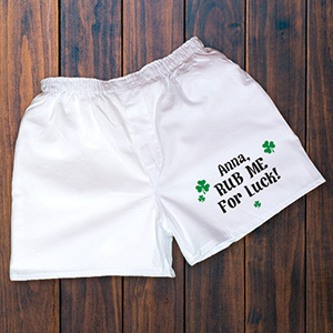 Rub Me For Luck Men's White Personalized Boxer Shorts