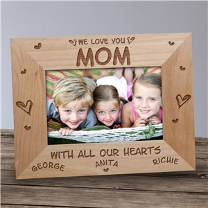 All Our Hearts Personalized Wood Picture Frame | Gifts For Mom
