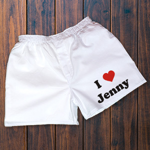 I Love You Men's White Personalized Boxer Shorts