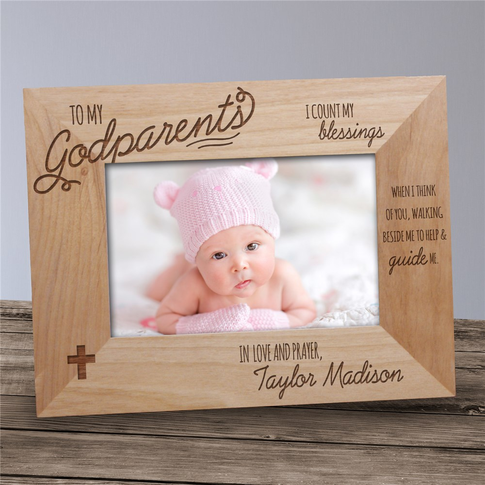 Engraved Godparent Wood Picture Frame | Personalized Picture Frames