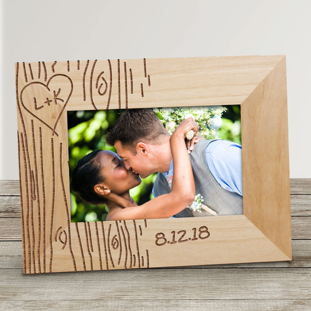 Engraved Couples Tree Carving Wood Picture Frame