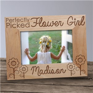 Engraved Flower Girl Wood Picture Frame | Personalized Picture Frames