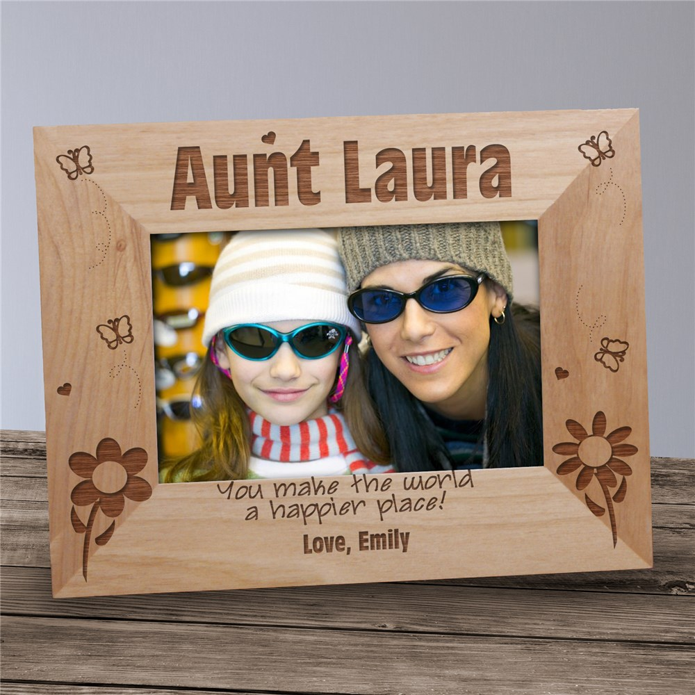 Aunt Happier Place Personalized Wood Picture Frame | Personalized Wood Picture Frames