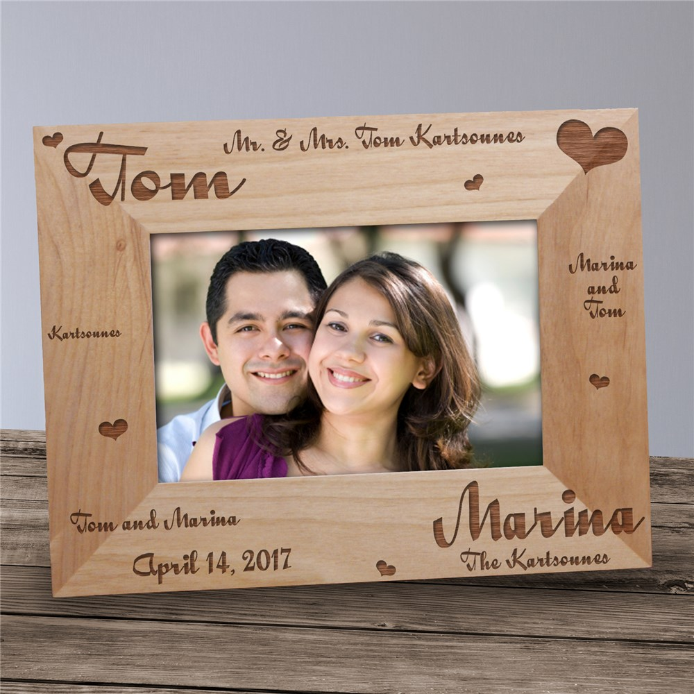 Mr. and Mrs. Wedding Picture Frame | Personalized Wood Picture Frames