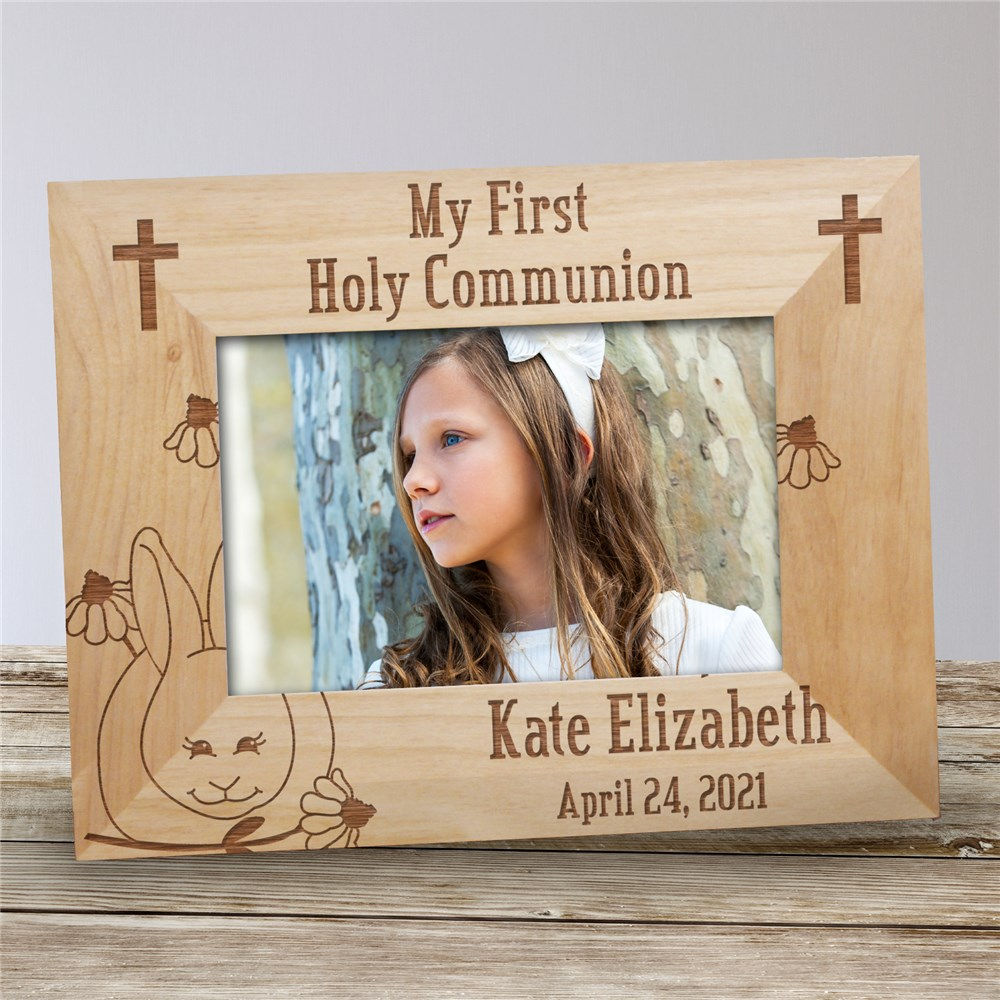 Bunny First Communion Wood Picture Frame | Personalized Wood Picture Frames