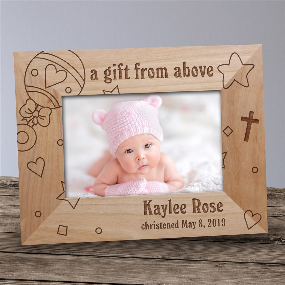 Baby Rattle Baby Wood Picture Frame | Personalized Newborn Gifts