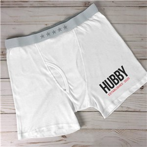Personalized Hubby Established Men's Boxer Briefs 9914108X