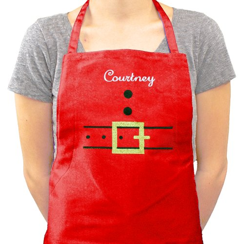 Embroidered Santa Apron | Personalized Christmas Aprons
