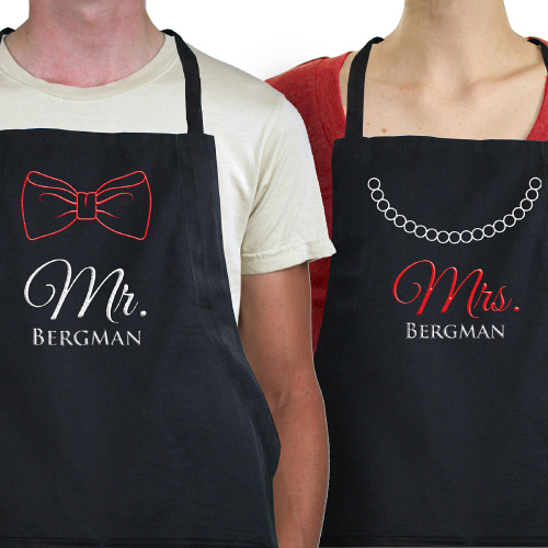 Embroidered Wedding Apron Set | Personalized Aprons