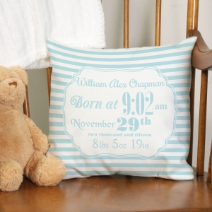 Personalized Birth Announcement Throw Pillow