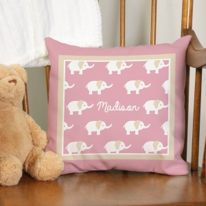 Personalized Baby Elephant Throw Pillow