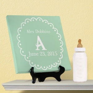 Personalized Baby Initial Wall Canvas