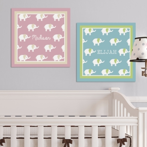 Baby Elephants Personalized Wall Canvas