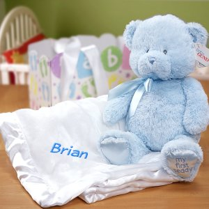 Embroidered New Baby Boy Gift Basket
