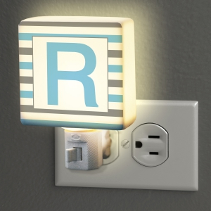 Personalized Striped Initial Night Light U970911