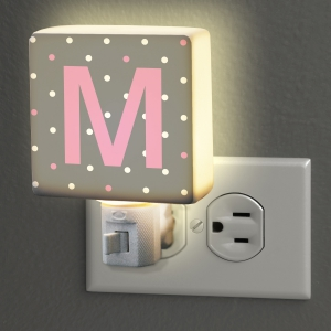 Personalized Polka Dot Initial Night Light U971011