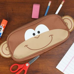 Embroidered Monkey Pencil Pouch