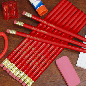 Engraved Red School Pencils