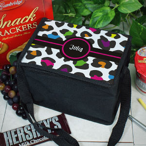 Personalized Multicolored Leopard Print Lunch Cooler