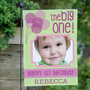 First Birthday Photo Garden Flag