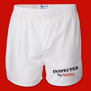 Inspected By Men's White Personalized Boxer Shorts