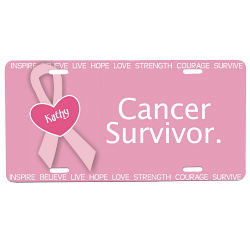 Cancer Survivor - Breast Cancer Awareness Personalized License Plate