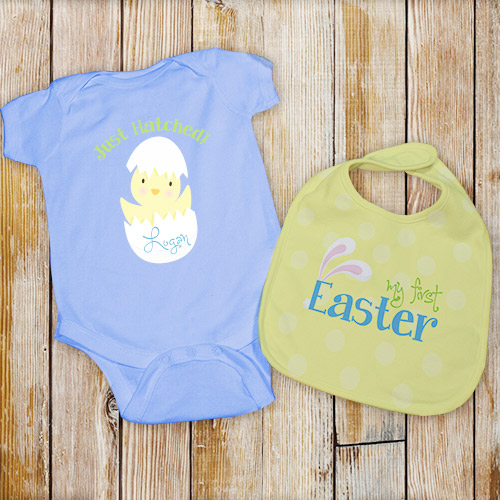Personalized My First Easter Bib Set - Blue | Baby's First Easter Gift