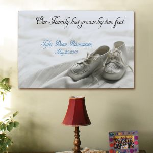 New Baby Personalized Canvas Wall Art - Family Has Grown