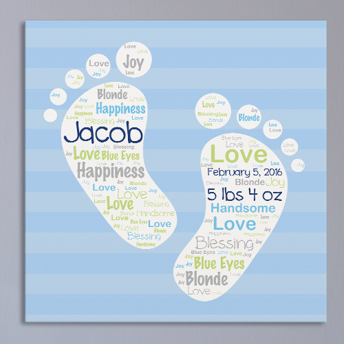 Baby Boy Word-Art Canvas | Personalized Word Art