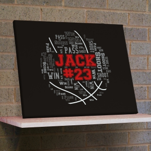 Basketball Word-Art Wall Canvas | Personalized Word Art