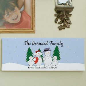 Customizable Snowman Family Canvas