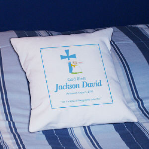 Blue God Bless Christening Personalized Throw Pillow