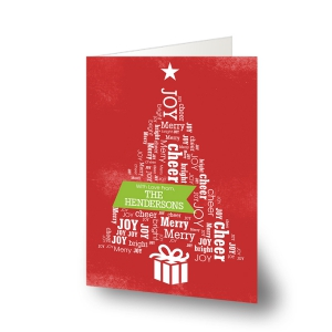 Christmas Tree Word Art Holiday Cards
