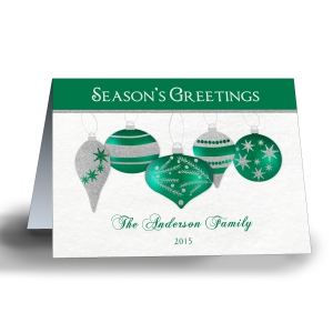 Shimmering Ornaments Personalized Holiday Cards-Folded