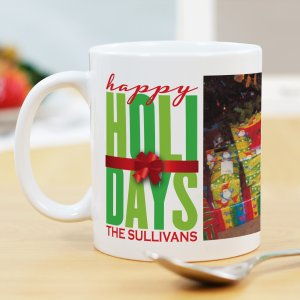Personalized Happy Holidays Photo Mug