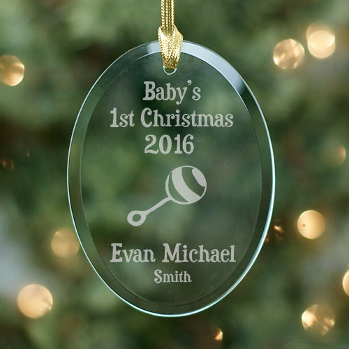 Baby's 1st Christmas Personalized Glass Ornament | Personalized Baby Ornaments