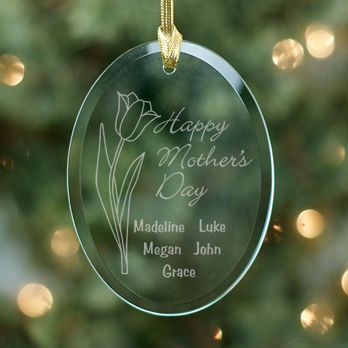 Mother's Day Personalized Oval Glass Ornament | Personalized Mother's Day Gift