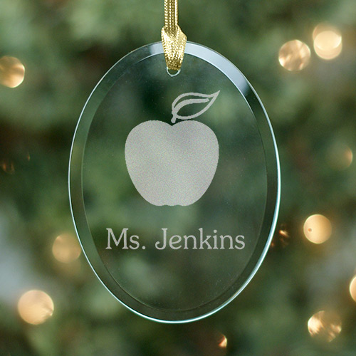 Teacher Engraved Oval Glass Ornament | Personalized Teacher Ornaments