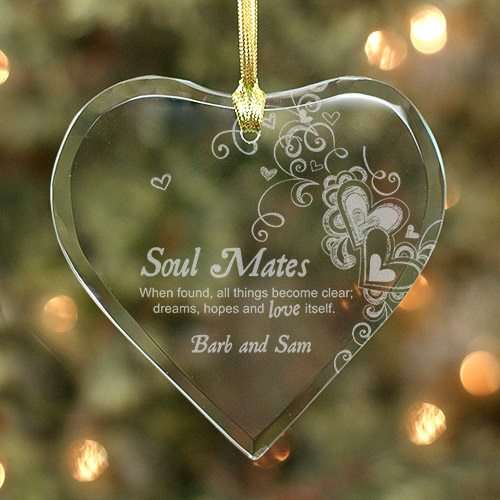 Engraved Soul Mates Glass Heart Ornament 832214H