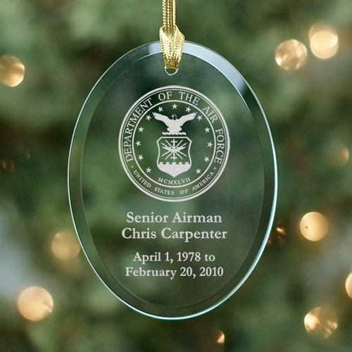 U.S. Army Memorial Personalized Oval Glass Ornament | Memorial Christmas Ornaments