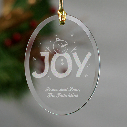 Engraved Christmas Joy Oval Glass Ornament 844934