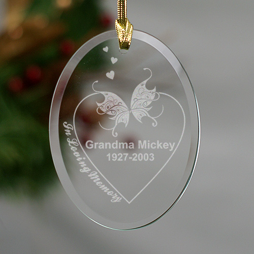 Engraved In Loving Memory Memorial Oval Glass Ornament | Memorial Ornaments