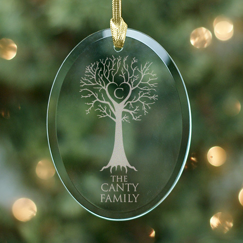 Engraved Family Tree Oval Glass Ornament | Personalized Family Christmas Ornaments