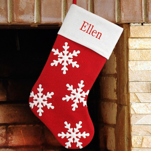 Embroidered Snowflake Stocking | Personalized Stocking