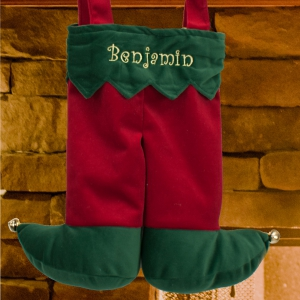 Embroidered Elf Suspenders Stocking | Unique Christmas Stockings