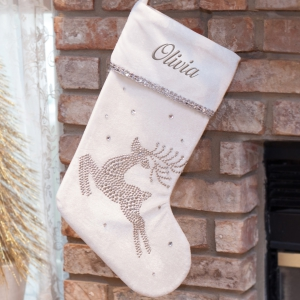 Embroidered White Reindeer Stocking
